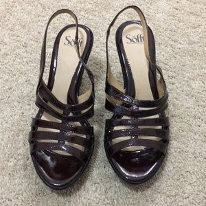 Sofft Women's Brown Leather Strap Heels 10M New